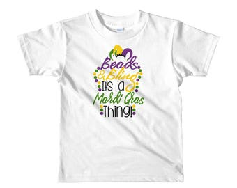 Beads and Bling it's a Mardi Gras Thing Short sleeve kids t-shirt