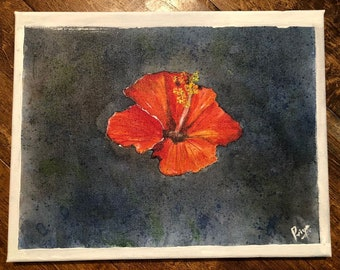 Hand made Hibiscus flower acrylic painting