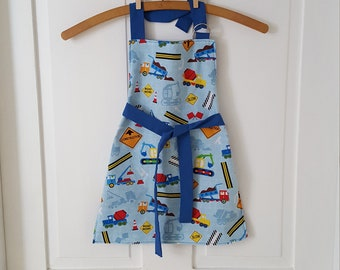 Boy's Truck Apron, Size 3-4T, Construction Trucks Pattern Apron,  Play Apron, Boy's Costume