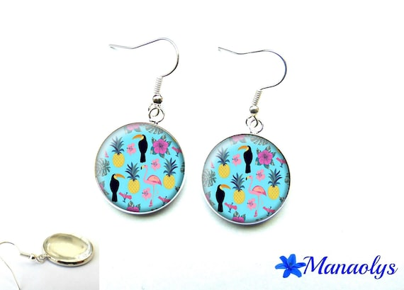 Silver earrings cabochon glass pineapple, toucans, flamingos, pink, hibiscus on blue background 2715