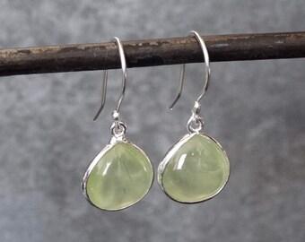 Prehnite Earrings, Prehnite Drops, Silver and Prehnite, Teardrop Earrings, Gemstone Drops, Green Earrings, Sterling Silver