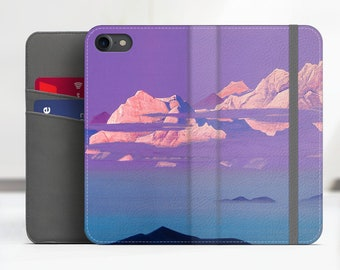 """iPhone 8 flip case Nicholas Roerich """"Himalayas"""" Samsung Galaxy S7 flip case iPhone X flip Phone cover for iPhone, Samsung. WC-NRO-01"""