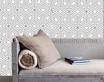 Removable  wallpaper/Wallpaper/peel and stick wallpaper/Self adhesive wallpaper/Temporary wallpaper /Geometric wallpaper  wallpaper S174