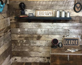 """Small. """"Library"""" barn wood sign"""