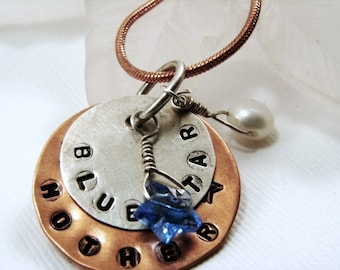 Military Mother - Blue Star Mother Mixed Metal Pendants Handstamped with Crystal Star and White Pearl
