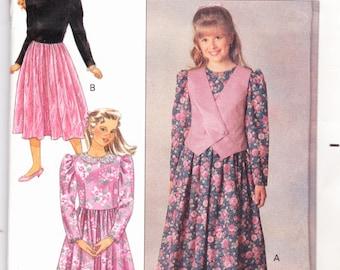Butterick 5125 CLEARANCE Vintage Pattern Girls Dress and Vest Size 7,8,10,12,14 UNCUT