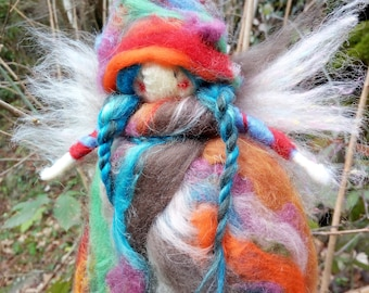 Felt Fairy in carded wool.Needle felt.Protector of the house and the kids.Suitable as a gift
