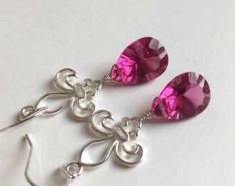 Fleur de Lis, Earrings, Dangle Earrings, Faux spinel earrings, Hot Laser Spinel Pink