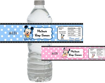 Baby Shower Mickey Mouse Minnie Mouse Bottle Labels *Waterproof* (Set of 10) Just Peel and Stick!