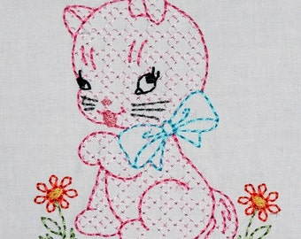 Vintage Plaid Kitty Cat Machine Embroidery Design 2 sizes, 4x4 or 5x7 colorwork linework, INSTANT DOWNLOAD. girl, boy, toddler, baby