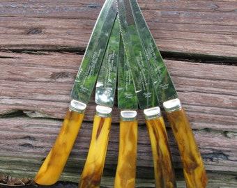 Forever Sharp Steak Knives Bakelite Handles Westall Richardson Seffield England Stainless Steel Set of 5