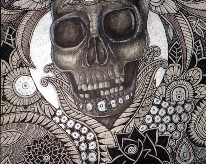 Original Skull Halloween Fine Art Drawing