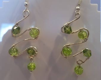 Green Beeded Wire Wrapped Earings