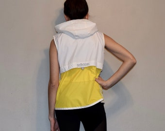 Vintage Adidas Yellow and White Hooded Wind Breaker Full Zip Vest