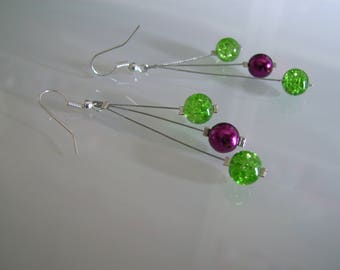 Earrings with ear lime/Apple green / dark plum/pink Fuchsia dress p d bridal/wedding/evening/cocktail pearls glass possible Clips (cheap)