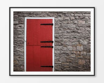 Red Barn Door Photography, Farmhouse Wall Decor, Farms, Digital Download, Door Art, Wood and Stone, Rustic Wall Decor, Country Decor