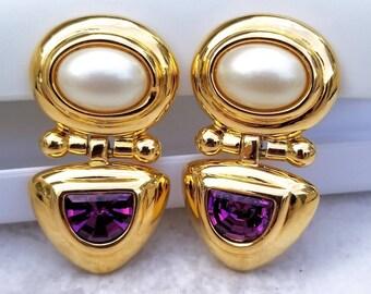 Vintage Joan Rivers Etruscsn Revival Faux Pearl Amythest Glass Drop Dangle Clip On Earrings