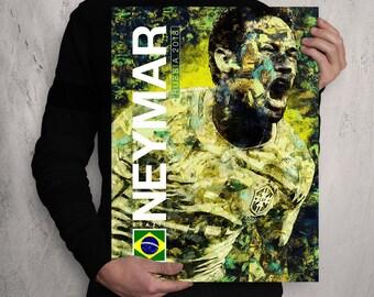 Neymar Jr. - Brazil National Team / Brazil / Brasil / Neymar / Illustration Poster Print / Football Print / Soccer Print / World Cup / PSG