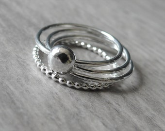 Sterling silver ball ring set • Sterling silver stacking rings with ball • Sterling silver ring • Solid ball ring • Silver sphere pebble