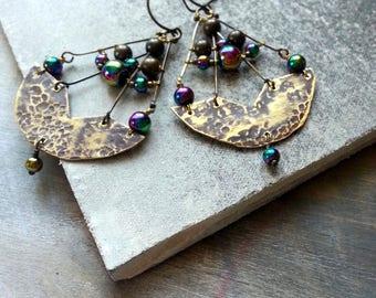 Tribal Brass Earrings Rustic Long Geometrical Earrings -  Irredescent Wire Wrapped Dangle Bohemian Brass Earrings  Metalwork Earrings Earthy