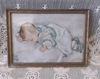 Vintage Large Picture, Baby picture, Maud tousey Fangel, Cottage nursery decor