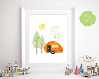 Nursery Wall Art / Art for Kids Room / Happy Camper / Quote Print / Childrens Room Decor / Wall Art Print / Printable / Instant Download