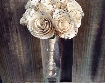 10 x Large Music Paper Rose Bunch