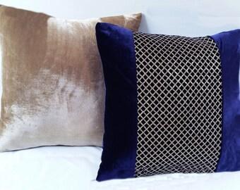 navy blue Velvet pillow. Velvet cushion with gold sequin center. Luxury  velvet sequin  pillow. Festive decor. 18inch.  Custom made