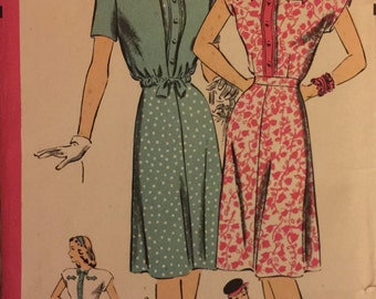 """VTG 1587 Hollywood Pattern (early 1940's). Misses' one piece dress & jacket.  Size 16, Bust 34"""".  Complete, unused, FF. Excellent condition."""