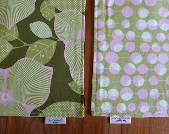 Olive, Pink and Cream Reversible Placemats with Flowers and Martini Olives - Amy Butler Midwest Modern
