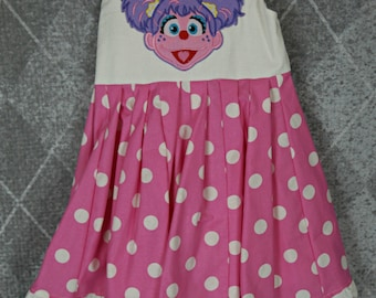 custom boutique twirl dress made with abby cadabby patch size 3t