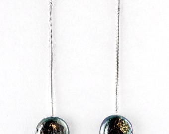 Grey Coin Pearl Sterling Silver Earrings