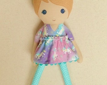 Fabric Doll Rag Doll 20 Inch Blond Haired Girl in Purple, Pink, and Aqua Unicorn Print Dress