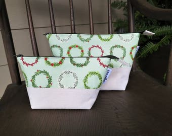 TWO Open Wide Zippered Pouches - Green Wreaths zipper pouch set - zip pouch - small zipper pouch - FREE SHIPPING!