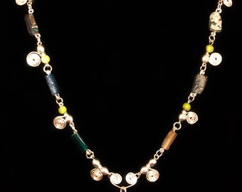 Roman glass, green aventurine and silver necklace