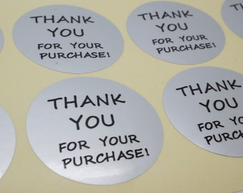 "100xSilver Foil  seal Sticker with ""Thank You for your purchase!"" for Shipping Labels Stickers Seals"