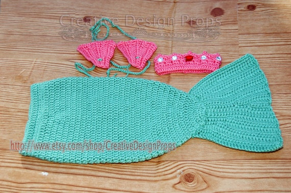 & Crochet Mermaid Outfit Tail and Seashell Bikini Top with