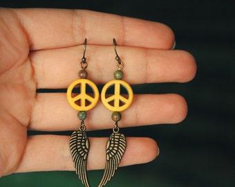 Dangle Wing Earrings, Unakite Dream Catcher, Peace sign ethnic jewelry, Native american indian, Green gemstone, Yellow howlite gem stone