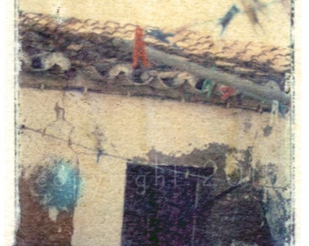 Polaroid transfer - Clothespins in Portugal