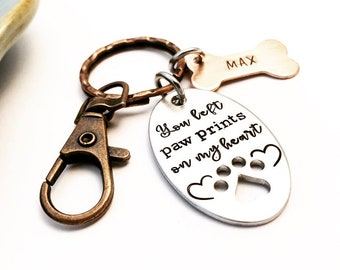 You left paw prints on my heart ~ Hand Stamped Pet Memorial ~ Mixed Metal Keychain ~ If loved could have saved you ~ Remembrance ~ Pet Loss