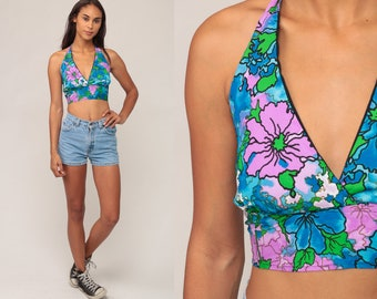 Halter Crop Top Vintage Floral Blouse Backless Blouse 90s Tank Top Hippie Boho Blue 1990s Summer Beach Small Medium