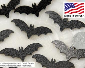 Bat Cabochons - 45mm Black Glitter Bats Acrylic or Resin Cabochons - 6 pc set