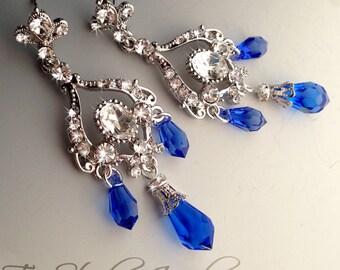 Royal Sapphire Blue Bridal Chandelier Earrings