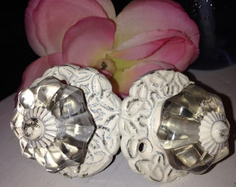 Glass Knob Only - Drawer Pulls/ Drawer Knobs/ Off-White Knobs/ Glass and Metal Drawer Knobs - Set of 2