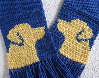 Yellow Labrador Retriever Scarf. Royal blue, crochet and knitted scarf with yellow lab dogs. Labrador gift