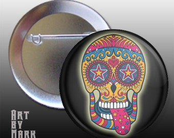 Sugar Skull Button,Day Of The Dead Button,Halloween Pinback Button 1.25 inch button