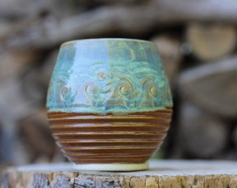 1 Pitch Pine Pottery Art Nouveau Stoneware Wine Cup -  Turquoise Waves - 18 oz