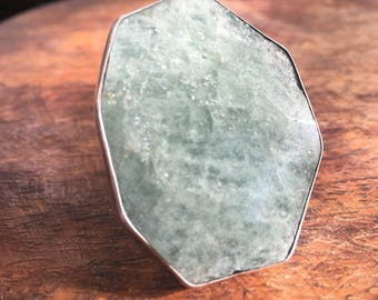 Aquamarine ring   silver ring   sterling silver ring   large aquamarine ring   pale green gem stone ring   gem stone ring