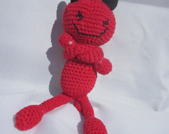 Little Red Devil crocheted in 100% cotton 17cm high.
