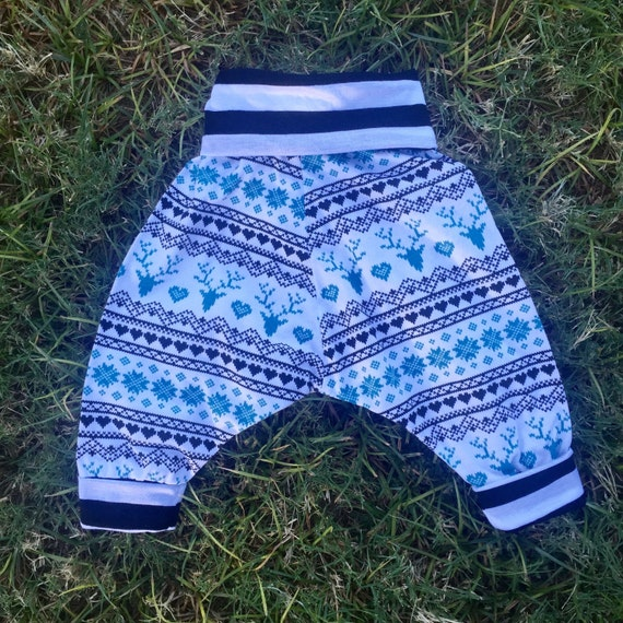 Childrens unisex fair isle deer harem pants (size 6 months to 4 years)
